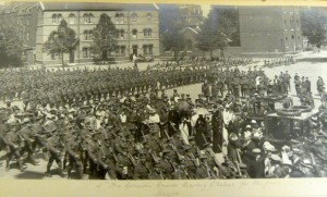The 2nd Battalion Grenadier Guards leaving Chelsea Barracks for war. 12th August 1914