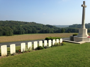 Vendresse Cemetery looks out over the Aisne valley